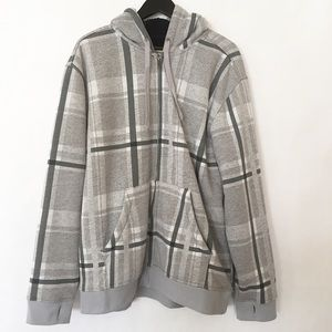 Gray Plaid Hooded Zip Up Sweater